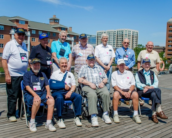 140718-IG780-N-023 NORFOLK, Va. (July 18, 2014) - The surviving members of aircraft carrier USS Franklin (CV 13) pose for a group photo at their annual reunion on board battleship USS Wisconsin (BB 64). The annual meeting of the Franklin Society honors the men who served aboard Franklin during World War II. (U.S. Navy photo by Mass Communication Specialist 3rd Class Shane A. Jackson/Released)