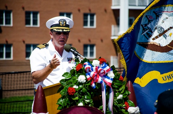 140718-IG780-N-032 NORFOLK, Va. (July 18, 2014) - Capt. James Denley, a Navy chaplain, speaks at the annual Franklin Society reunion on board battleship USS Wisconsin (BB 64). The Franklin Society annually honors the men who served aboard aircraft carrier USS Franklin (CV 13) during World War II. (U.S. Navy photo by Mass Communication Specialist 3rd Class Shane A. Jackson/Released)
