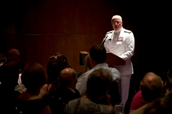140718-IG780-N-035 NORFOLK, Va. (July 18, 2014) - Rear Adm. Mark L. Tidd, Chief of Navy Chaplains, speaks at the Franklin Society's dinner and dance as part of the group's annual reunion. The annual meeting of the Franklin Society honors the men who served aboard aircraft carrier USS Franklin (CV 13) during World War II. (U.S. Navy photo by Mass Communication Specialist 3rd Class Shane A. Jackson/Released)